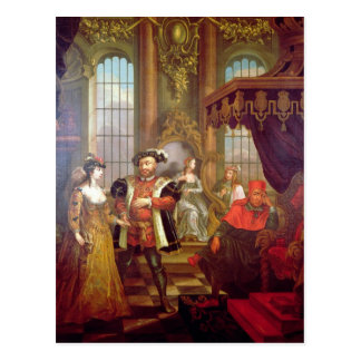 Henry VIII  introducing Anne Boleyn at court Postcard