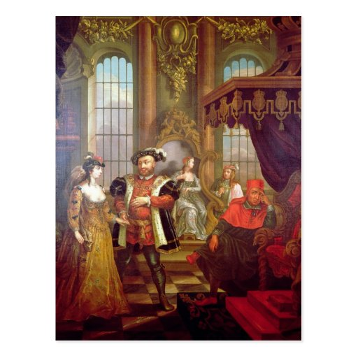 Henry VIII  introducing Anne Boleyn at court Post Cards