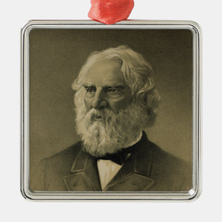 Henry Wadsworth Longfellow Portrait (1888) Silver-Colored Square Decoration