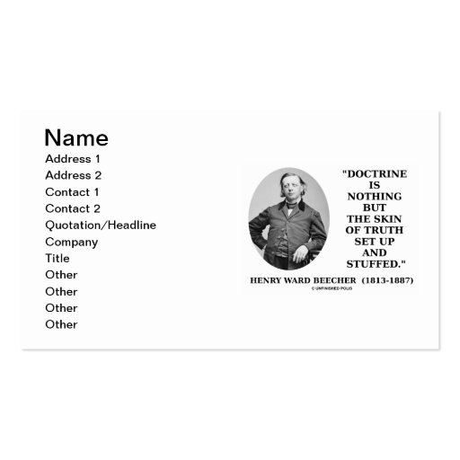 Henry Ward Beecher Doctrine Nothing But Truth Set Business Card Templates