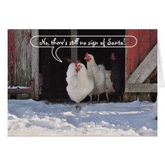 Hens waiting for Santa christmas Greeting Card