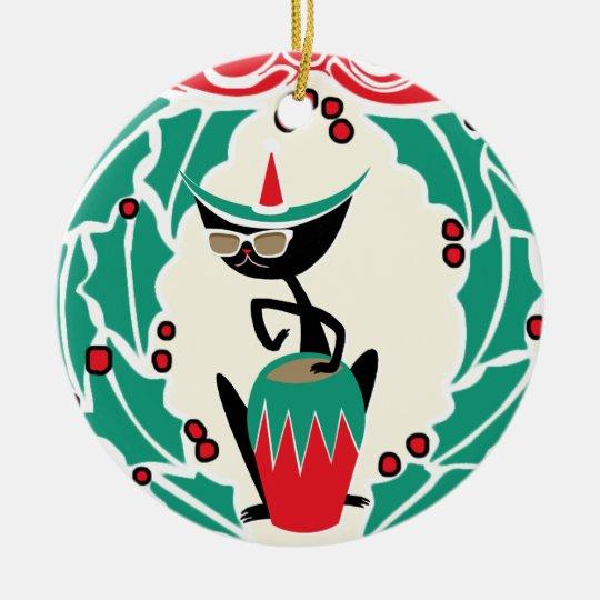 Hep Cat Retro Christmas (Personalised) Christmas Ornament