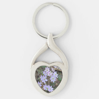 Hepatica Wildflower Plant Silver-Colored Twisted Heart Key Ring