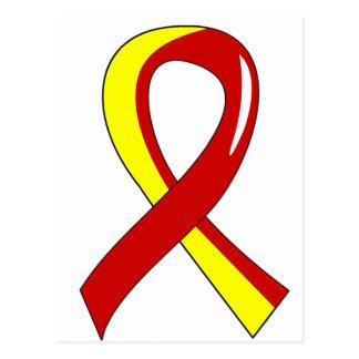Hepatitis C Red Yellow Ribbon 3 Postcard