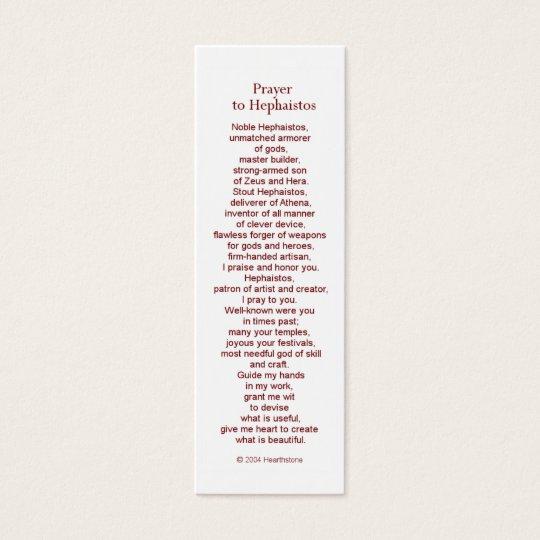 Hephaestus (Hephaistos) Prayer Card