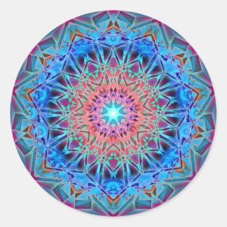 Heptagram Sacred Geometry Mandala Round Sticker