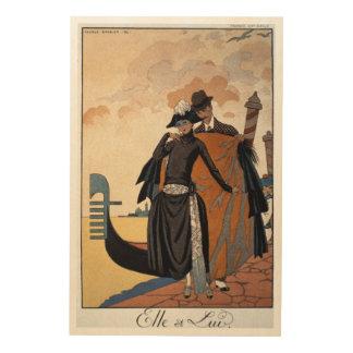Her and Him, Fashion Illustration, 1921 (pochoir p Wood Wall Art