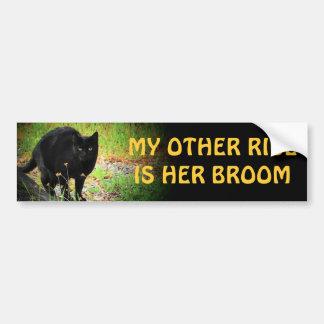 her broom - Arched Black Cat Bumper Sticker