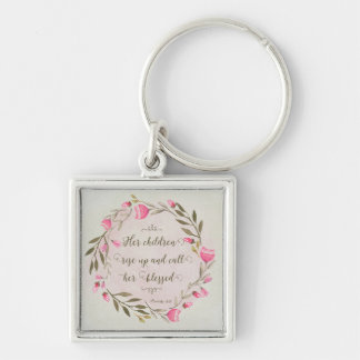 Her Children Rise Up & Call Her Blessed Silver-Colored Square Key Ring