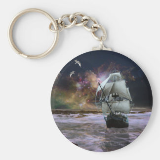 Her guiding star.. basic round button key ring