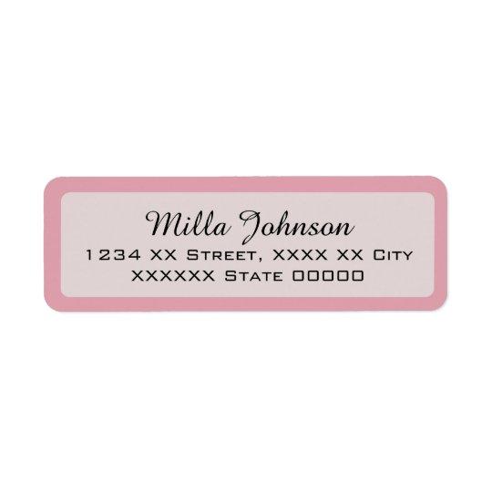 her name with pink border return address label