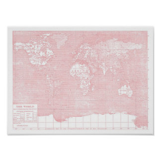 Her World ~ Pink Vintage World Map Poster