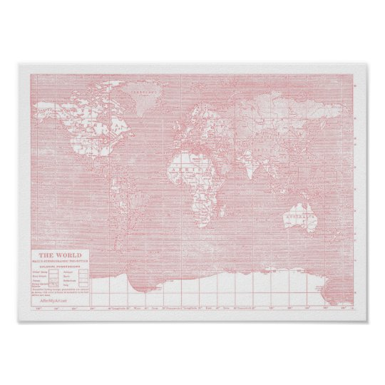 Her world pink vintage world map poster zazzle her world pink vintage world map poster gumiabroncs Gallery
