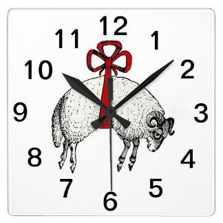 Heraldic Banded Fleece Ram Sheep Crest Emblem Square Wall Clock