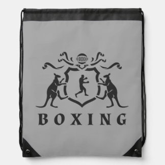 Heraldic Boxing Kangaroo Drawstring Backpack