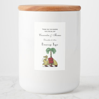 Heraldic Camel Palm Tree Color Coat of Arms Food Label