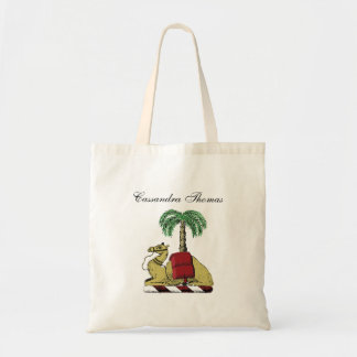 Heraldic Camel Palm Tree Color Coat of Arms Tote Bag
