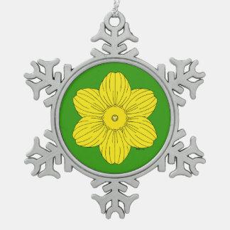 Heraldic Daffodil Snowflake Pewter Christmas Ornament