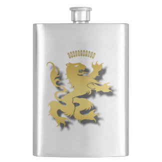 Heraldic Golden Mythological Lion Or Tiger Hip Flask