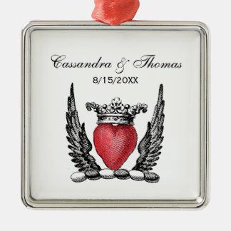 Heraldic Heart with Wings Coat of Arms Crest Christmas Ornament