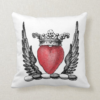 Heraldic Heart with Wings Coat of Arms Crest Cushion