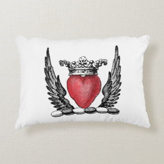 Heraldic Heart with Wings Coat of Arms Crest Decorative Cushion