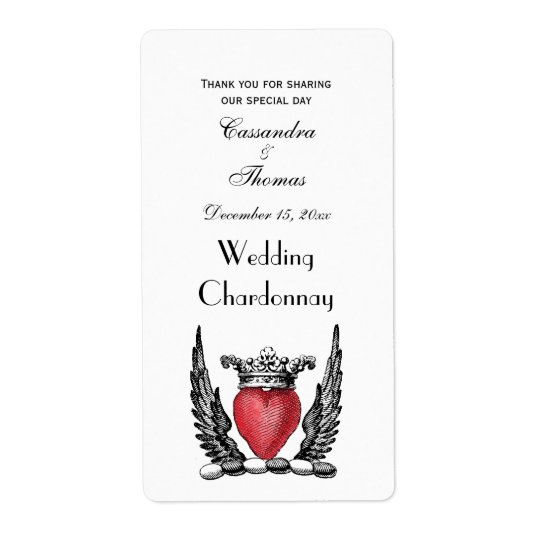 Heraldic Heart with Wings Coat of Arms Crest Shipping Label
