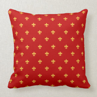 Heraldic Lilly on Royal Red Background Cushion