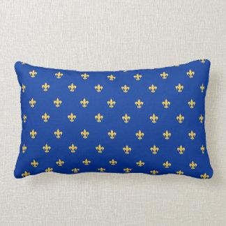 Heraldic Lilly Royal Blue Background Lumbar Cushion