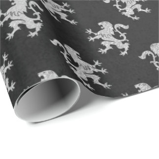 Heraldic Lion Royal Silver Gray Black VIP Wrapping Paper