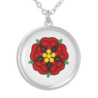 Heraldic Rose Round Pendant Necklace