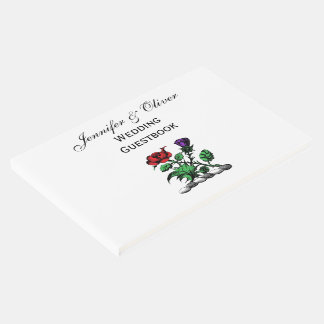 Heraldic Rose & Thistle Coat of Arms Crest Color Guest Book