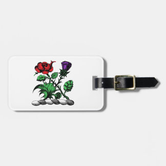Heraldic Rose & Thistle Coat of Arms Crest Color Luggage Tag