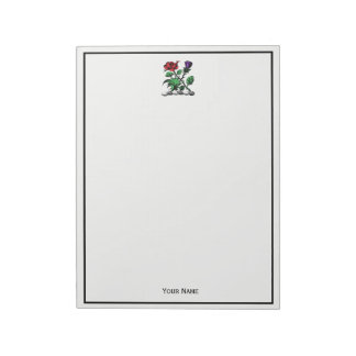 Heraldic Rose & Thistle Coat of Arms Crest Color Notepad