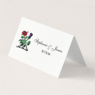 Heraldic Rose & Thistle Coat of Arms Crest Color Place Card