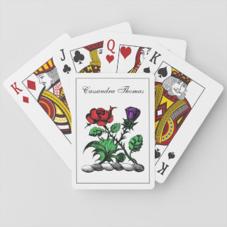 Heraldic Rose & Thistle Coat of Arms Crest Color Playing Cards