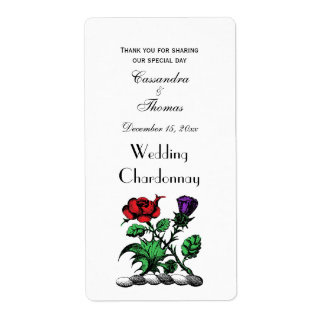 Heraldic Rose & Thistle Coat of Arms Crest Color Shipping Label