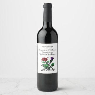 Heraldic Rose & Thistle Coat of Arms Crest Color Wine Label