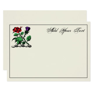 Heraldic Rose & Thistle Crest Color Note Card