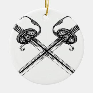 Heraldic sword illustration design round ceramic decoration