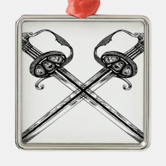 Heraldic sword illustration design Silver-Colored square decoration