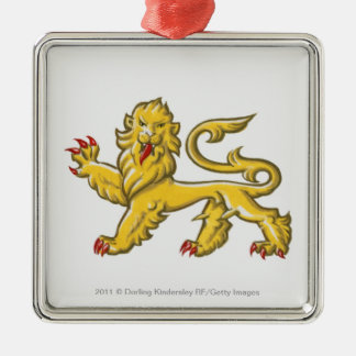 Heraldic symbol of lion statant guardant square metal christmas ornament