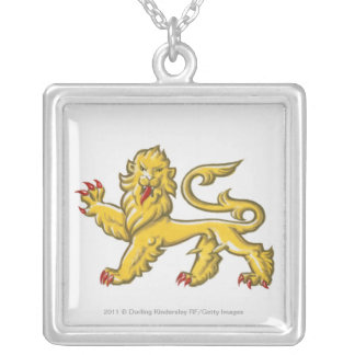 Heraldic symbol of lion statant guardant silver plated necklace