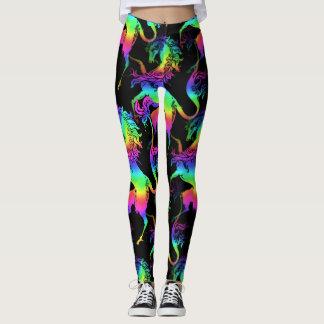 Heraldic Unicorn Rainbow Pattern Leggings