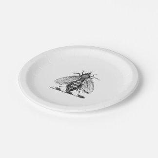 Heraldic Vintage Bee Coat of Arms Emblem Paper Plate