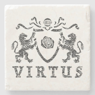 Heraldic Virtus Marble Stone Coaster