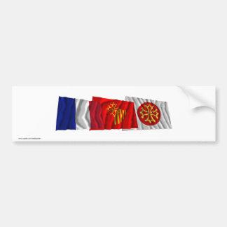 Hérault, Languedoc-Roussillon & France flags Bumper Sticker