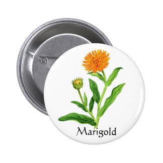 Herb Garden Series - Marigold 6 Cm Round Badge