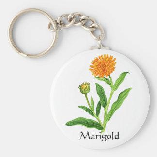 Herb Garden Series - Marigold Basic Round Button Key Ring