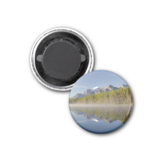 Herbert Lake at Icefields Parkway Alberta Canada 3 Cm Round Magnet